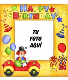 Postal de feliz cumpleaños con payaso y globos