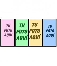 Collage para hacer con 4 fotos con un filtro de color diferente cada una de ellas y añadir texto
