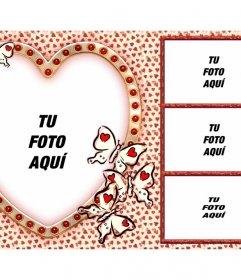 Collage de amor con 4 fotos y un corazón como foto principal