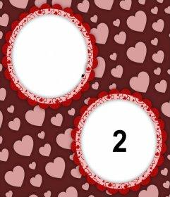 Hermoso fotomontaje para añadir dos fotos en decorativos círculos y corazones