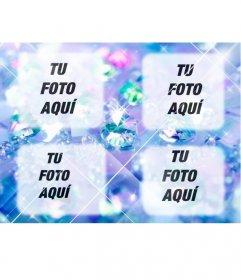 Crea un collage con diamantes brillantes azules con 4 fotos que subas online y agrega también un texto