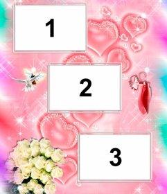 Collage de tres fotos para enamorados