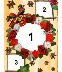 Collage de Navidad con flores para personalizar con tres fotos