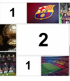 Original collage del FC Barcelona para editar con 4 fotos