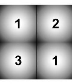 Crea un collage con un filtro viñeteado negro degradado con cuatro fotos cuadradas que subas online.