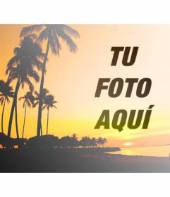 Crea un collage con un paisaje veraniego con una playa y palmeras con tonos anaranjados y una foto tuya online y gratis