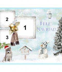 Collage de Navidad para personalizar con tres fotos