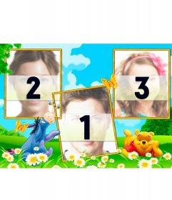 Collage para tres fotografías con Winnie Pooh y su amigo Igor en un campo
