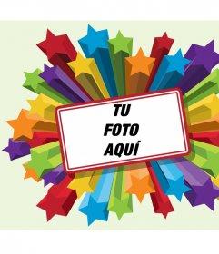 Marco para fotos de estrellas de colores con borde rojo para poner tu fotografía