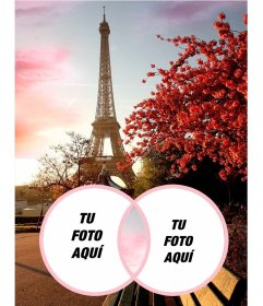 Fotomontaje romántico con la Torre Eiffel.