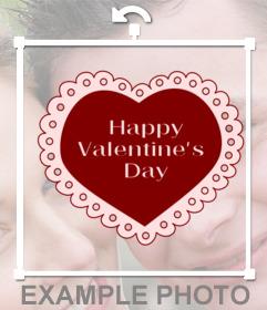 Corazón con la frase Feliz San Valentín para insertar en tus fotos online