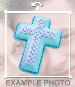 Pegatina de una cruz cristiana de color azul para tu foto