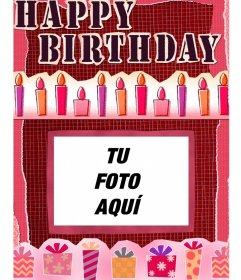 Tarjeta de cumpleaños para hacer online y poner una foto de fondo