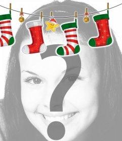 Marco para fotos con decoración de Navidad estilo chimenea con calcetines de Navidad