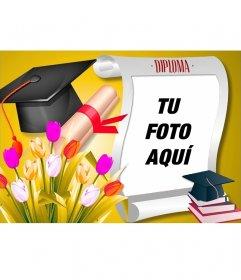 Diploma de graduación con tu foto