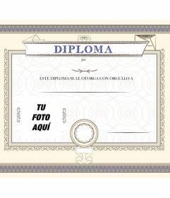 Diploma personalizable con una foto y un título, para entregar a la persona que quieres por haber conseguido un logro