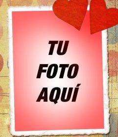 Tarjeta de amor con tu foto, tono rojo y dos corazones
