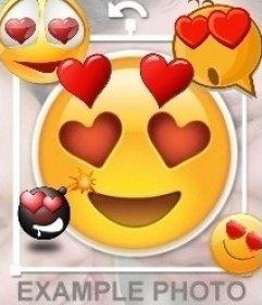 Emoji enamorado con ojos de corazón para pegar como sticker en tus fotos