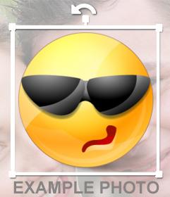 Emoticono con gafas de sol para poner en tus fotos