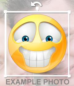 Emoticono sonriente de dientes blancos para tus fotos