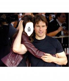 Fotomontaje para editar y posar abrazada al actor Tom Cruise