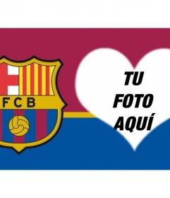 Fotomontaje para poner tu foto en forma de corazón junto al escudo del FC Barcelona