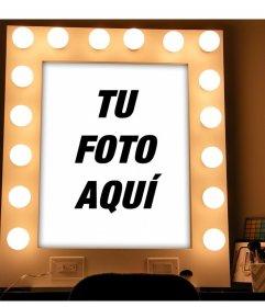fotomontaje de un espejo con luces y maquillaje para subir tu foto fotoefectos