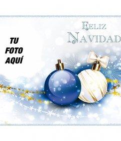 Felicitación navideña con tu foto y el texto Feliz Navidad.
