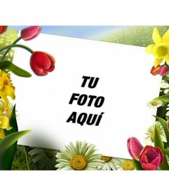 Marco de fotos con dibujos de flores y plantas de - Marcos para plantas ...