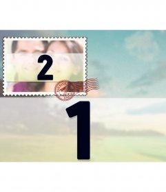 Collage para dos fotografías con una gran foto de fondo y otra pequeña a modo de sello, superpuesta.