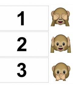 Foto collage para editar y decorar con los emojis de los tres monos