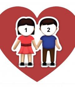 Fotomontaje de amor con el emoji de la pareja donde podrás subir dos fotos