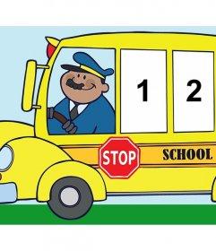 Foto collage para tres fotos de un divertido autobús escolar