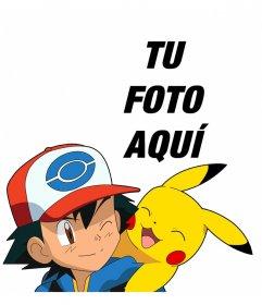 Montaje con Ash y Pikachu donde podrás añadir tu foto gratis