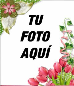 Marco decorativo con bellas rosas y flores para tus fotos