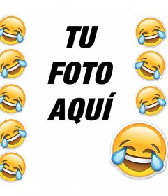Marco con el emoticono que llora de la risa para añadir tu foto