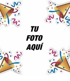 Marco editable para festejar con confeti y tu foto