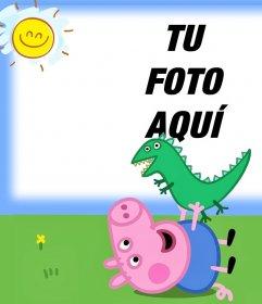 Carga tu foto junto a George de Peppa Pig con su dinosaurio de juguete