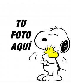 Marco infantil con los amigos Snoopy y Woodstock para añadir tu foto
