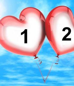Fotomontaje para dos fotos de dos globos en forma de corazón