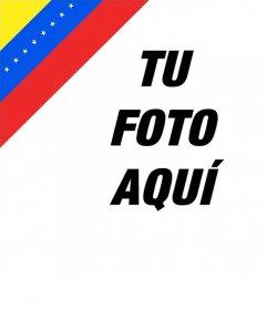 Fotomontaje de la bandera de Venezuela en una esquina de tu foto