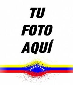 Fotomontaje con una franja de la bandera de Venezuela