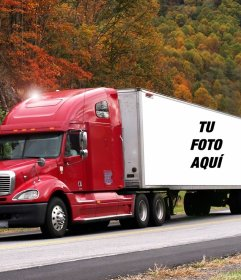 Fotomontaje de un camión de carga para poner tu foto