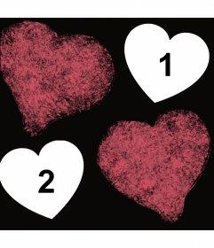 Foto efecto con dos corazones manchados donde puedes subir dos fotos