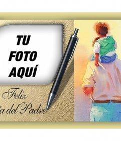 Tarjeta editable del Día del Padre con una hermosa ilustración