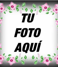 Fotomontaje de un marco con flores rosas para decorar tu foto