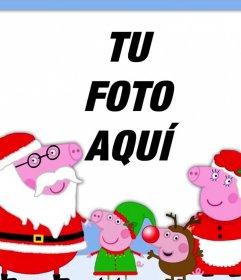 Fotomontaje de Navidad con la familia de Peppa Pig