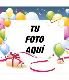 Fotomontaje para cumpleaños con globos y regalo
