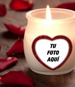 Fotomontaje de amor con una vela y un corazón