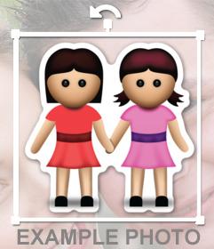 Emoticono online para tus fotos de dos niñas agarradas de la manos
